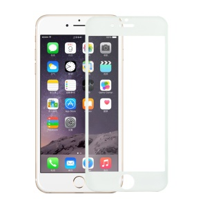 Para o iPhone 6 6s Glitter Powder Carbon Fiber Tempered Glass Screen Protector 0.3mm Cobertura total - branco