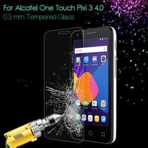 Tempered Glass Screen Protector 0.3mm for Alcatel One Touch Pixi 3 4.0 4013E 4050X Arc Edge