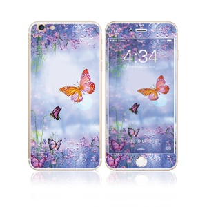 FEMA for iPhone 6s Plus / 6 Plus Front + Back 6D Colorful Laser Tempered Glass Screen Guard - Lavender and Butterflies