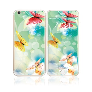 FEMA Front + Back 6D Colorful Laser Tempered Glass Screen Film for iPhone 6s Plus / 6 Plus - Butterflies & Bubbles