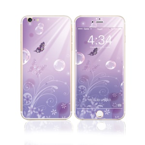 FEMA Front + Back 6D Colorful Laser Tempered Glass Screen Guard for iPhone 6s Plus / 6 Plus - Purple Flora and Butterflies