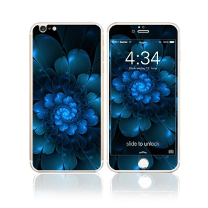 FEMA Full Size 6D Colorful Laser Tempered Glass Screen Films Front + Back for iPhone 6s Plus / 6 Plus - Charming Blue Flower