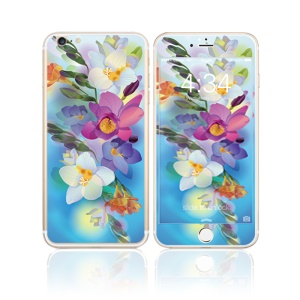 FEMA for iPhone 6s Plus / 6 Plus Front + Back 6D Colorful Laser Tempered Glass Screen Protector - Begonia Flowers