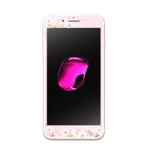 KAVARO 0.3mm Full Size Tempered Glass Screen Film with Swarovski Diamond Decor for iPhone 6s 6 - Rose Gold