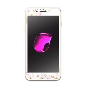 KAVARO para iPhone 6s Plus / 6 más 9H tamaño completo de vidrio templado de cristal Swarovski Decor Screen Guard - Oro
