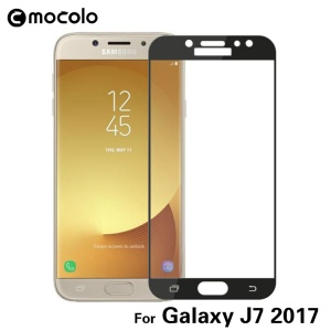 MOCOLO Silk Print Arc Edge Complete Coverage Tempered Glass Screen Protector Film for Samsung Galaxy J7 (2017) EU Version - Black