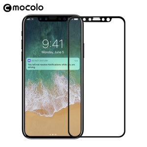 MOCOLO Silk Print Arc Edge Complete Coverage Tempered Glass Screen Protector for iPhone X/Ten 5.8-inch - Black