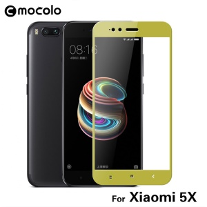 MOCOLO Silk Print Arc Edge Complete Coverage Tempered Glass Screen Film for Xiaomi Mi A1 / 5X - Gold
