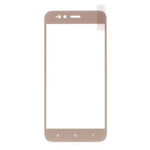 For Xiaomi Mi A1 / 5X Silk Print Full Screen Cover Mobile Tempered Glass Protector Film - Gold
