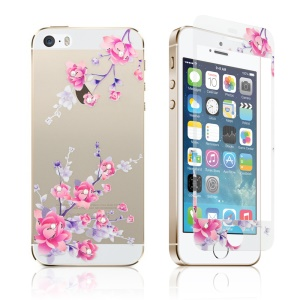 Embossing Front + Back Tempered Glass Guard Films for iPhone SE 5s 5 - Plum Blossom