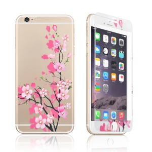 Embossing Front + Back Tempered Glass Guard Films for iPhone 6s 6 - Red Apricot