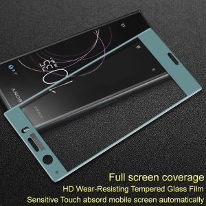 IMAK Full Coverage Anti-explosion Tempered Glass Screen Protector Guard Film for Sony Xperia XZ1 Compact - Blue