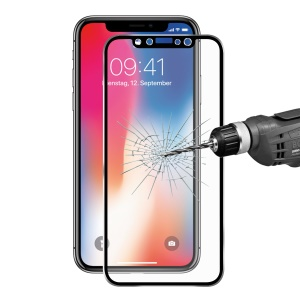"""HAT PRINCE 0.2mm 9H 3D Aluminum Alloy Tempered Glass Full Screen Coverage Protector for iPhone (2019) 5.8"""" / XS / X 5.8 inch - Black"""