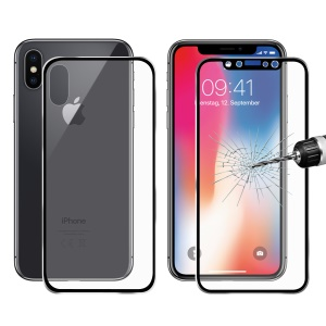 HAT PRINCE for iPhone Xs / X 0.2mm 3D Full Screen Front + Back Aluminum Alloy Edge Tempered Glass Protectors Guard - Black
