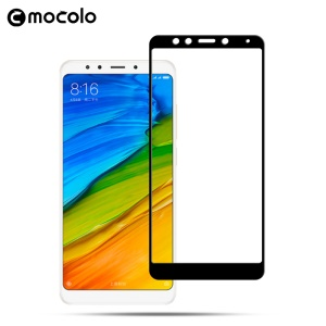 MOCOLO Silk Print Full Coverage Tempered Glass Screen Guard Film for Xiaomi Redmi 5 - Black