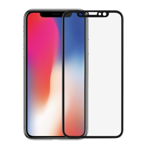 ANGIBABE for iPhone Xs / X 0.3mm Carbon Fiber Edges Full Size Tempered Glass Screen Protector - Black