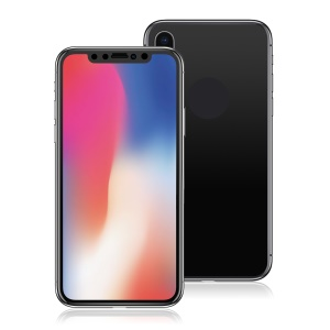ANGIBABE Mirror-like Plated Front + Back Tempered Glass Screen Films for iPhone X - Black