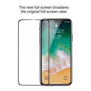 BASEUS 9H 0.3mm Silk Print Full Glue Tempered Glass Full Screen Protector for iPhone XS / X 5.8 inch