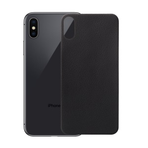 ANGIBABE 0.15mm 3D Arc Edge Litchi Texture Full Back Protector Film for iPhone X - Black