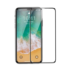 BASEUS 0.3mm 4D Curved Full Glue Silk Print Full Screen Tempered Glass Protector for iPhone Xs / X - Black
