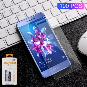 100Pcs/Set 0.3mm Arc Edge Tempered Glass Screen Protector Guard Film for Huawei P8 Lite (2017) / Honor 8 Lite