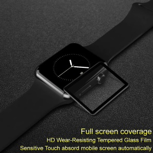 IMAK Pro+ Full Size Tempered Glass Screen Protector for Apple Watch Series 3/2/1 42mm - Black