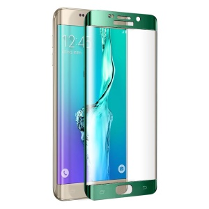 FEMA Plated Full Size Curved Tempered Glass Screen Guard  for Samsung Galaxy S6 Edge G925 - Green