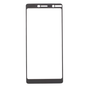 Silk Printing Full Size Tempered Glass Screen Protector for Nokia 7 plus - Black