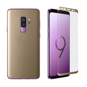 0.1mm Full Cover Plated Curved Soft PET Protector Films Set (Front + Back) for Samsung Galaxy S9 Plus SM-G965 - Gold
