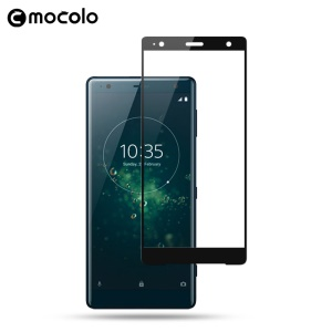 MOCOLO Silk Print Arc Edge Full Size Tempered Glass Screen Protector for Sony Xperia XZ2 - Black