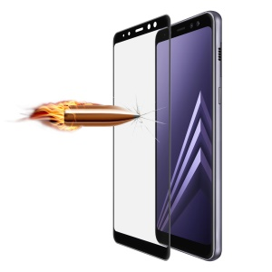 ANGIBABE for Samsung Galaxy A8+ (2018) 0.26mm 9H Curved Silk Print Tempered Glass Full Screen Protector - Black