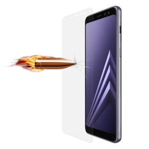 ANGIBABE for Samsung Galaxy A8 Plus (2018) 0.26mm 9H Curved Silk Print Tempered Glass Full Size Protector - Transparent