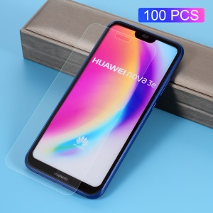100Pcs/Set 0.3mm Arc Edge Tempered Glass Screen Protective Film for Huawei P20 Lite / Nova 3e