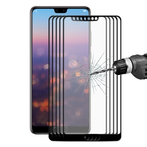 5PCS/Pack HAT PRINCE 0.26mm 2.5D Full Cover Tempered Glass Screen Protector for Huawei P20 - Black