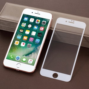 Silk Printing Full Coverage 9D Tempered Glass Screen Protector for iPhone 8/7 4.7 inch - White