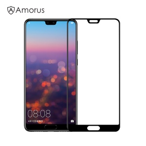AMORUS for Huawei P20 Clear Full Glue Silk Print Complete Cover Tempered Glass Screen Protective Film