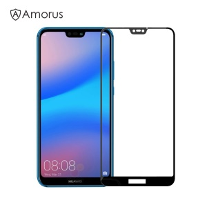 AMORUS for Huawei P20 Lite/Nova 3e Clear Full Glue Silk Print Complete Cover Tempered Glass Screen Guard Film