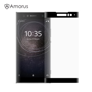 AMORUS for Sony Xperia XA2 Clear Silk Print Complete Cover 3D Arc Edge Tempered Glass Screen Protection Film