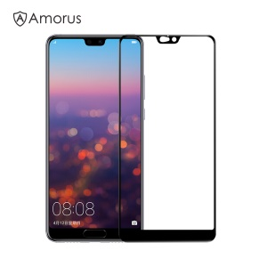 AMORUS for Huawei P20 Pro Clear Full Glue Silk Print Complete Cover Tempered Glass Screen Protector