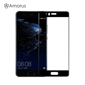 AMORUS for Huawei P10 Clear Silk Print Complete Cover 3D Arc Edge Tempered Glass Screen Protective Film
