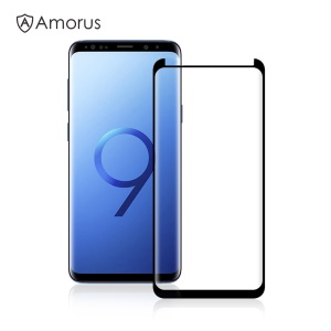 AMORUS 3D Curved Tempered Glass Screen Protector (Opening on Top) for Samsung Galaxy S9 Plus SM-G965 (Scaled-Down Version)