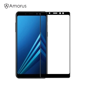 AMORUS Clear Full Glue Tempered Glass Screen Protector for Samsung Galaxy A8+ (2018) - Black