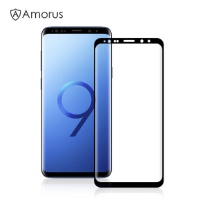 AMORUS 3D Curved Full Glue Tempered Glass Screen Protector for Samsung Galaxy S9 Plus SM-G965 (Scaled-Down Version)