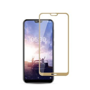 MOCOLO Silk Print Arc Edge Full Coverage Tempered Glass Screen Protector Film for Nokia 6.1 Plus / X6 (2018) - Gold