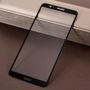 Full Screen Complete Covering Silk Print 5D Tempered Glass Protector for Huawei P Smart / Enjoy 7S - Black