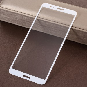 Full Screen Complete Coverage 5D Silk Print Tempered Glass Protector for Huawei P Smart / Enjoy 7S - White