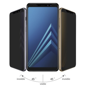 HAT PRINCE for Samsung Galaxy A8 (2018) 2.5D Anti-Peep 0.26mm 9H Arc Edge Tempered Glass Screen Protector