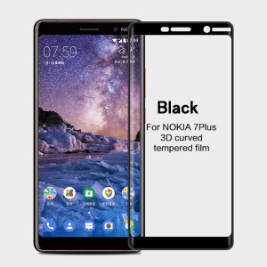 MOFI 3D Curved Full Size Tempered Glass Screen Protector for Nokia 7 plus - Black