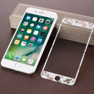 KAVARO Vivid Pattern 0.26mm Full  Screen Tempered Glass Front Film + PET Back Protector Film for iPhone 8/7 4.7 inch - White