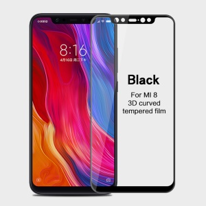 MOFI 3D Curved Tempered Glass Complete Covering Screen Guard Film for Xiaomi Mi 8 (6.21-inch) - Black